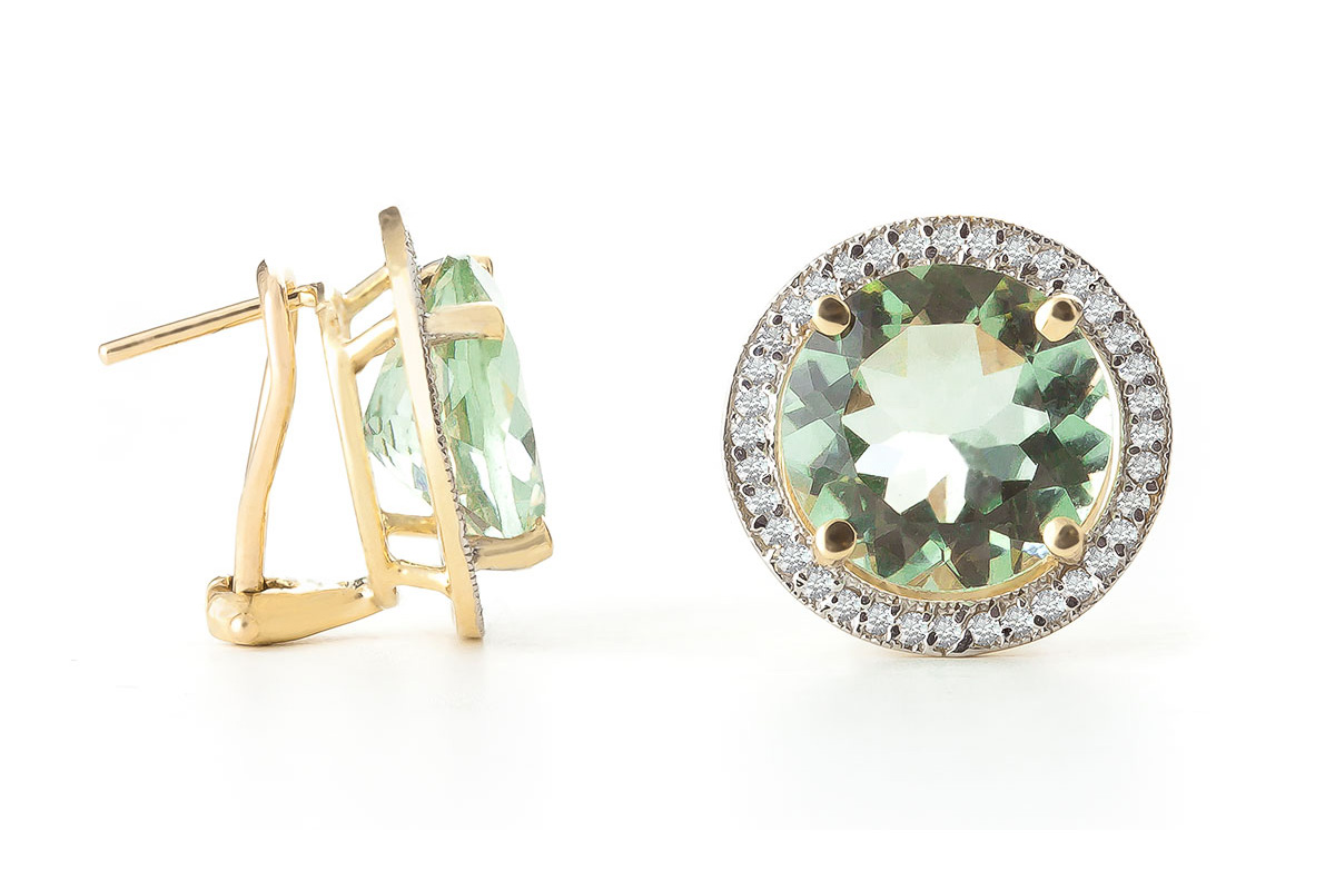 Green Amethyst and Diamond French Clip Halo Earrings 10.0ct in 9ct Gold