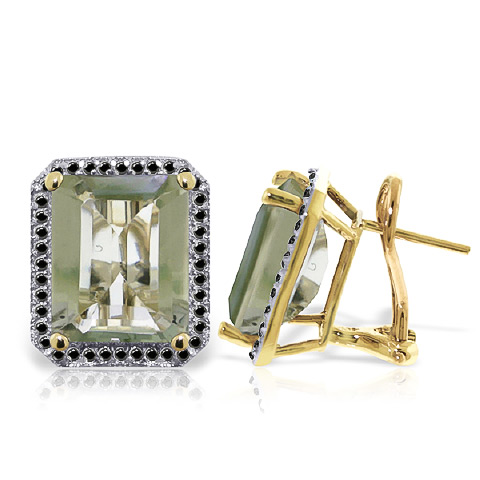 Green Amethyst and Diamond Stud French Clip Halo Earrings 11.2ctw in 9ct Gold