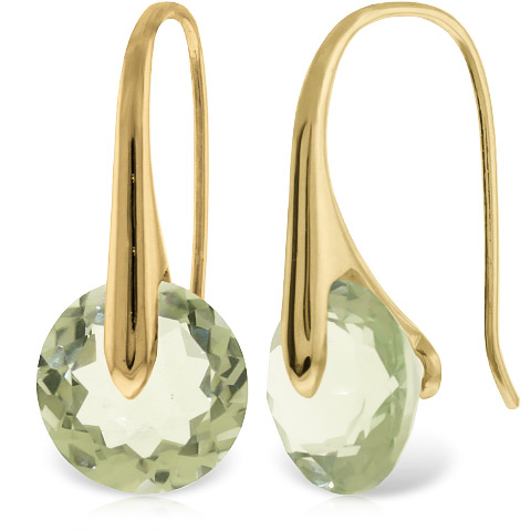 Green Amethyst Drop Earrings 11.5ctw in 9ct Gold
