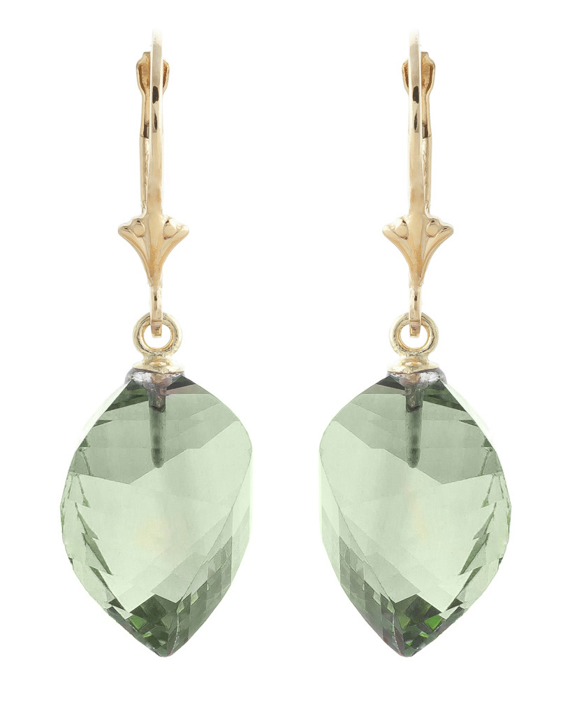 Green Amethyst Briolette Drop Earrings 26.0ctw in 9ct Gold