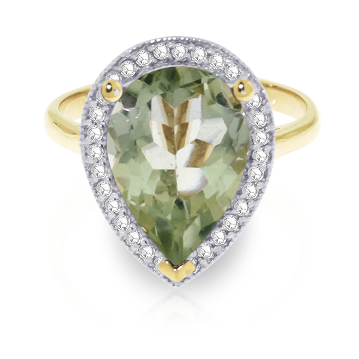 Green Amethyst and Diamond Halo Ring 3.25ct in 9ct Gold
