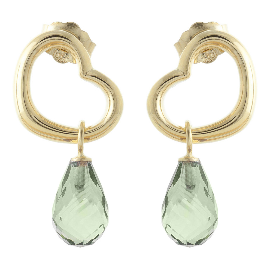 Green Amethyst Stud Earrings 4.5ctw in 9ct Gold