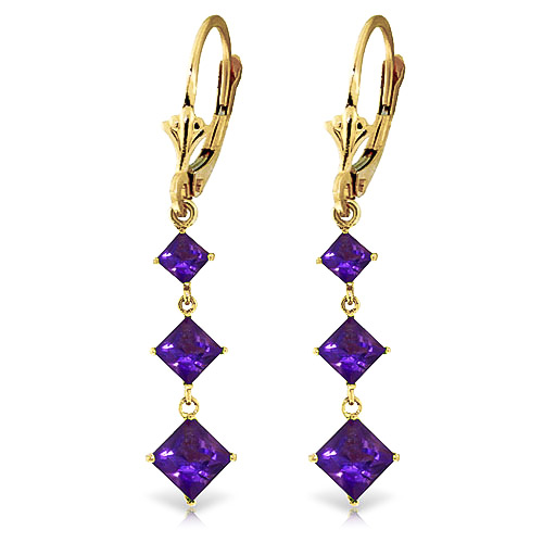 Amethyst Three Stone Drop Earrings 4.79ctw in 9ct Gold