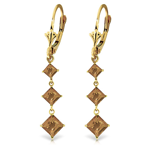 Citrine Three Stone Drop Earrings 4.79ctw in 9ct Gold