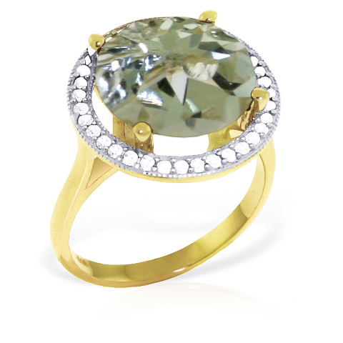 Green Amethyst and Diamond Halo Ring 5.0ct in 9ct Gold