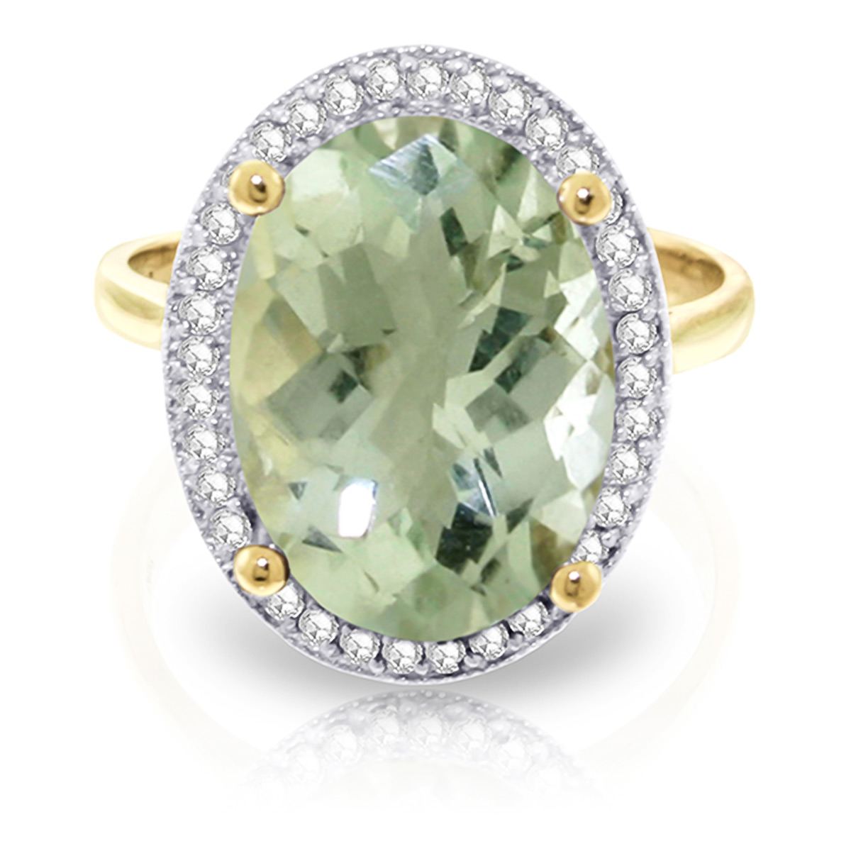 Green Amethyst and Diamond Halo Ring 5.1ct in 9ct Gold