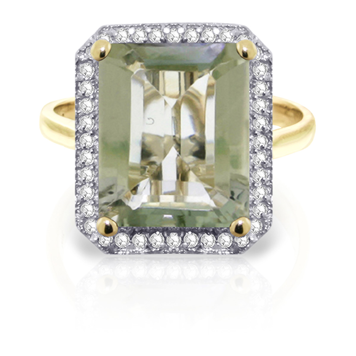 Green Amethyst and Diamond Halo Ring 5.6ct in 9ct Gold