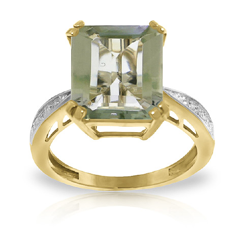 Green Amethyst and Diamond Ring 5.6ct in 9ct Gold