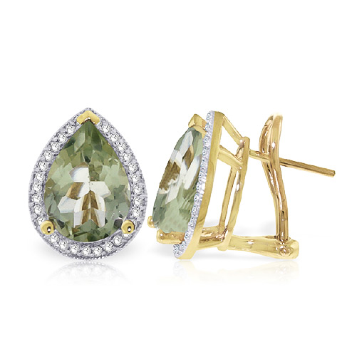 Green Amethyst and Diamond French Clip Earrings 6.5ctw in 9ct Gold