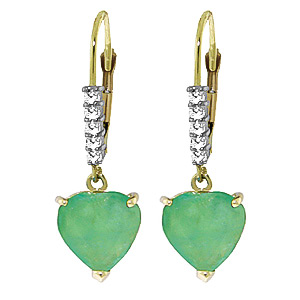 QP 14K Gold Emerald & Green Diamond Affection Heart Earrings