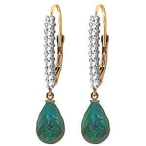QP 14K Gold Emerald & Green Diamond Channel Briolette Earrings