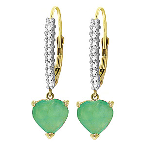 QP 14K Gold Emerald & Green Diamond Rococo Love Heart Earrings