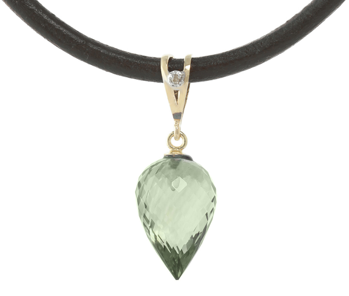 Green Amethyst and Diamond Leather Pendant Necklace 9.5ct in 9ct Gold