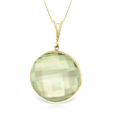 Round Brilliant Cut Green Amethyst Pendant Necklace 18.0ctw in 9ct Gold
