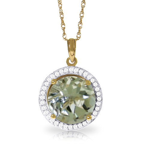 Green Amethyst and Diamond Halo Pendant Necklace 5.0ct in 9ct Gold