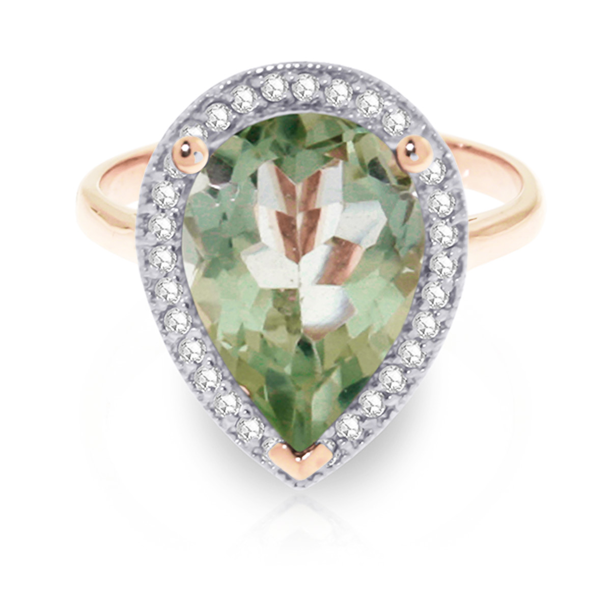 Green Amethyst and Diamond Halo Ring 3.25ct in 9ct Rose Gold