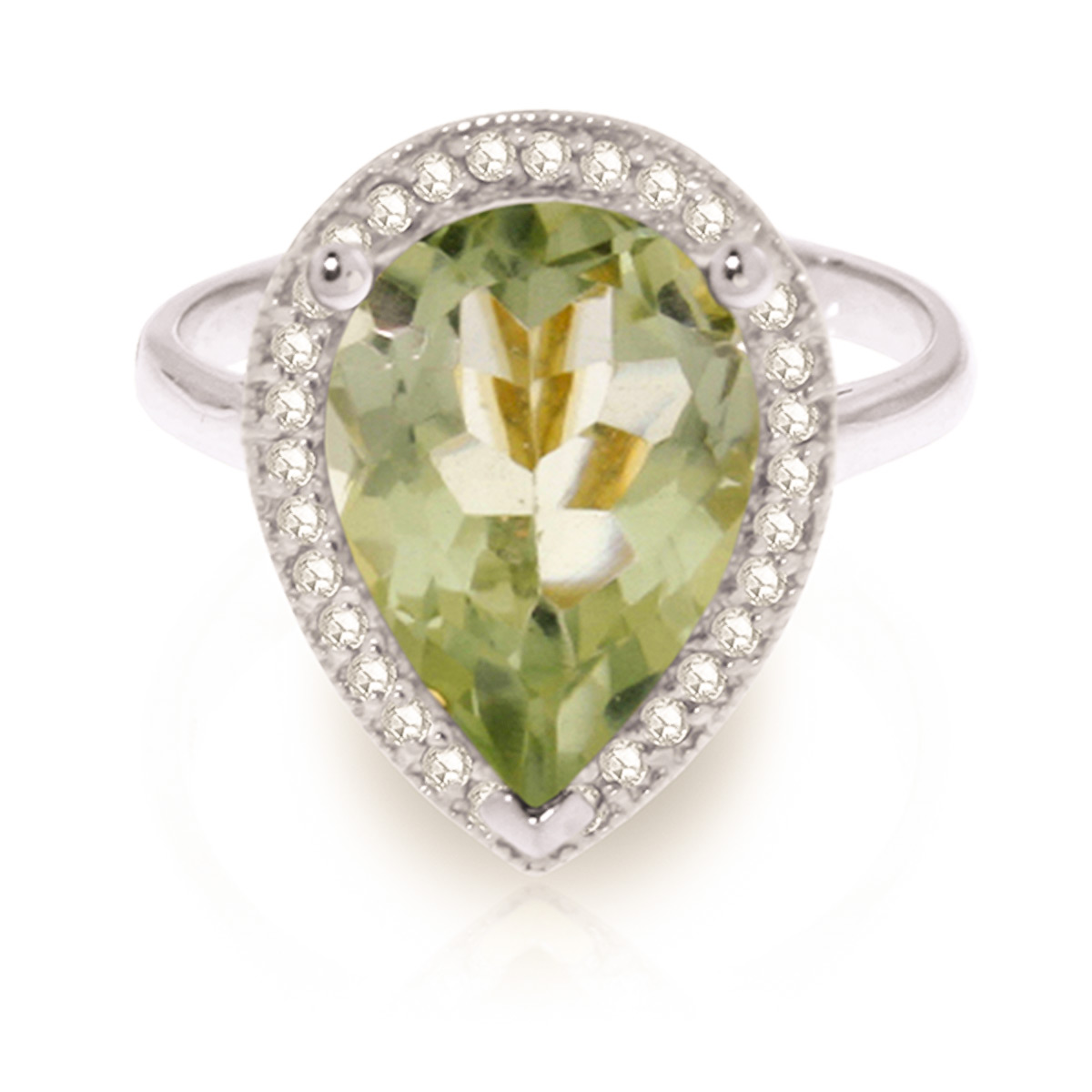 Green Amethyst and Diamond Halo Ring 3.25ct in 9ct White Gold