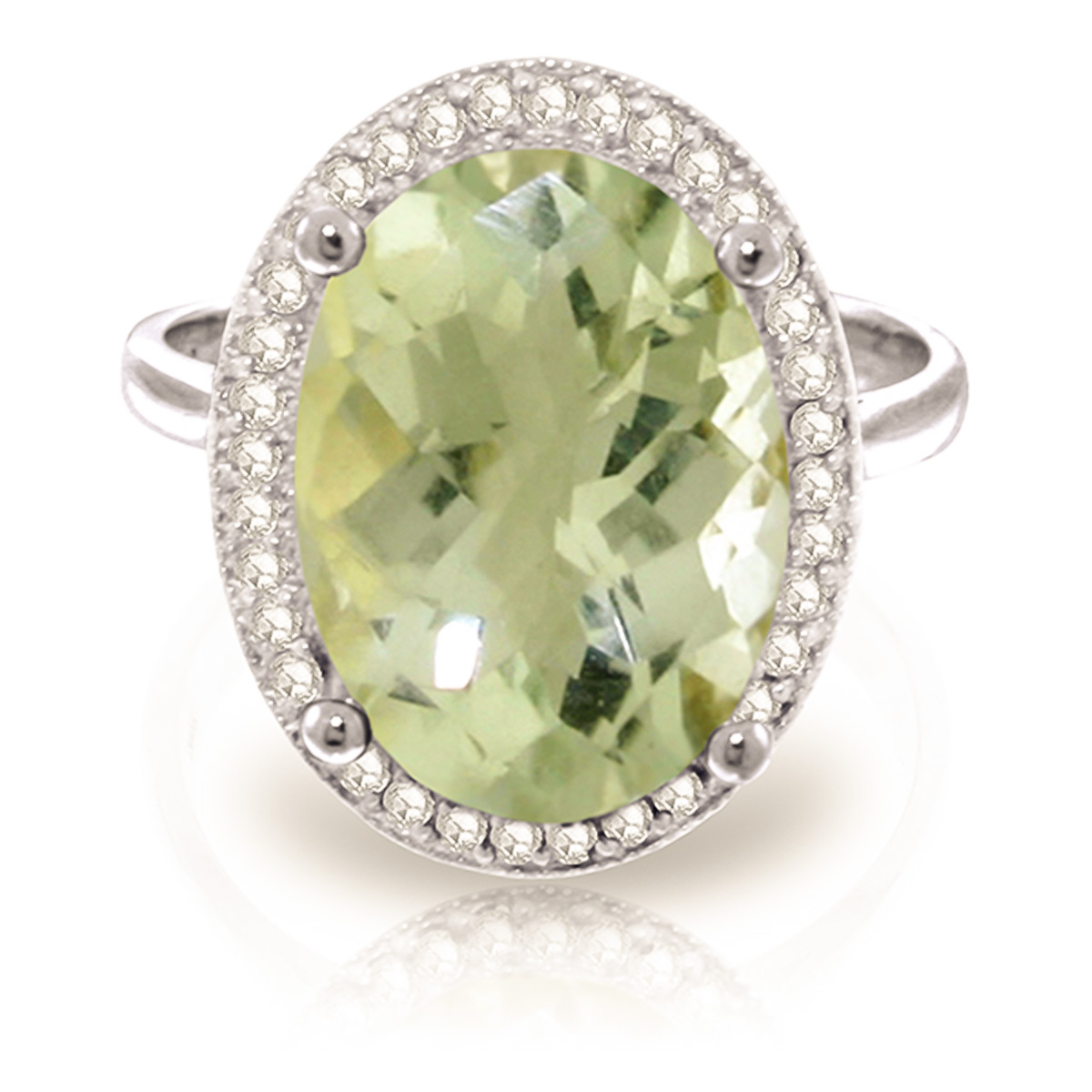 Green Amethyst and Diamond Halo Ring 5.1ct in 9ct White Gold