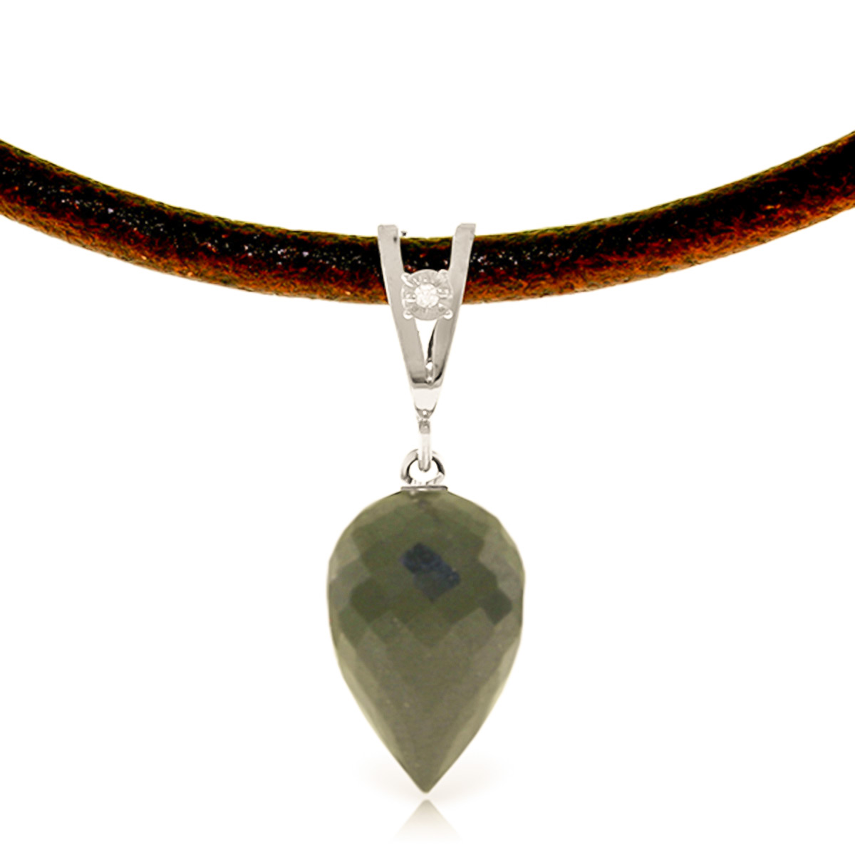 14K White Gold Leather Drop Necklace with 12.25ct Black Spinel Pendant