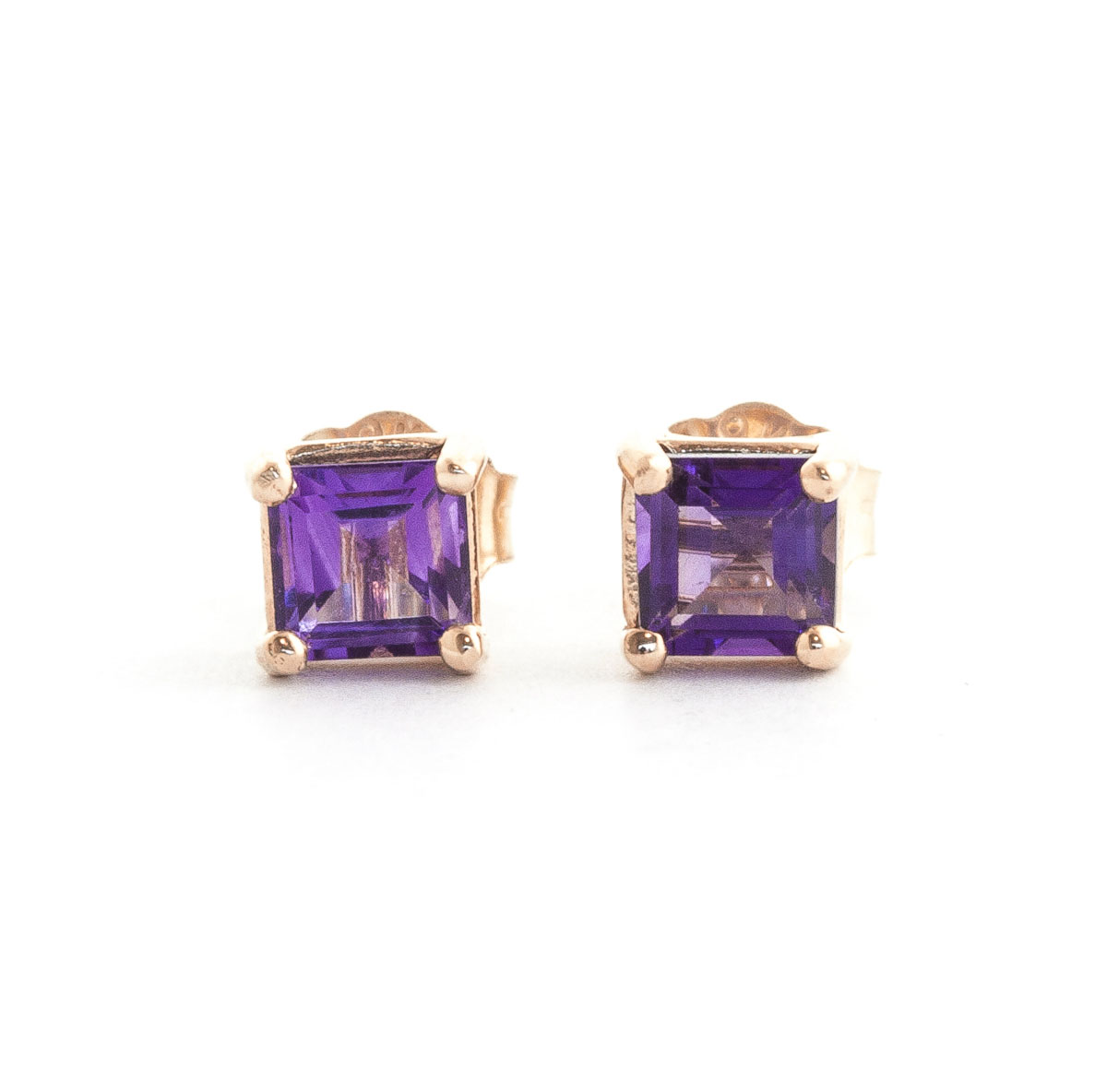 Image of Amethyst Alexandra Stud Earrings 0.65 ctw in 9ct Rose Gold