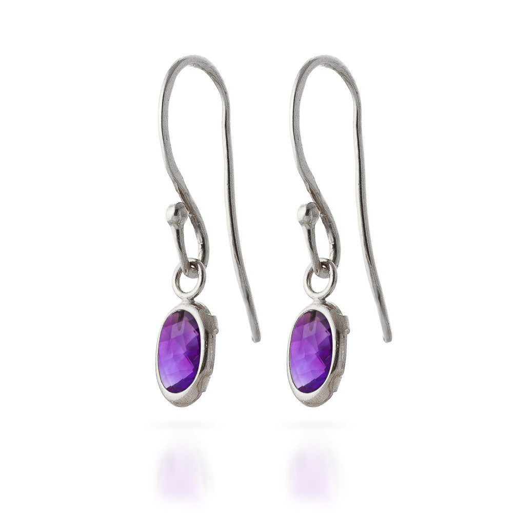 Image of Amethyst Allure Drop Earrings 1 ctw in 9ct White Gold