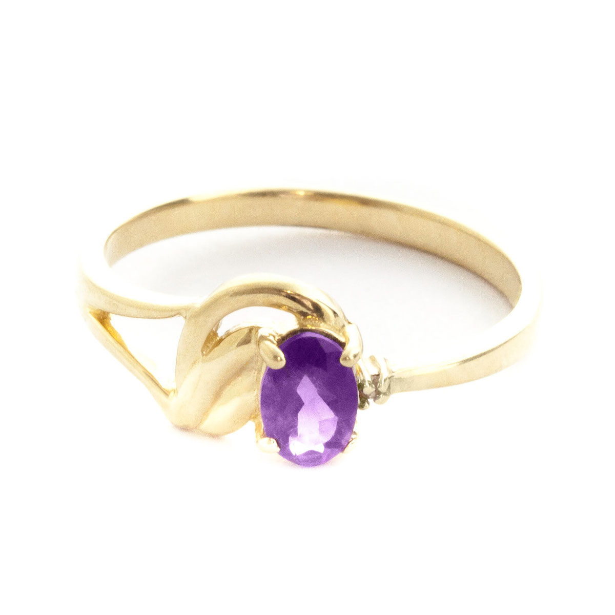 Amethyst & Diamond Angel Ring in 18ct Gold