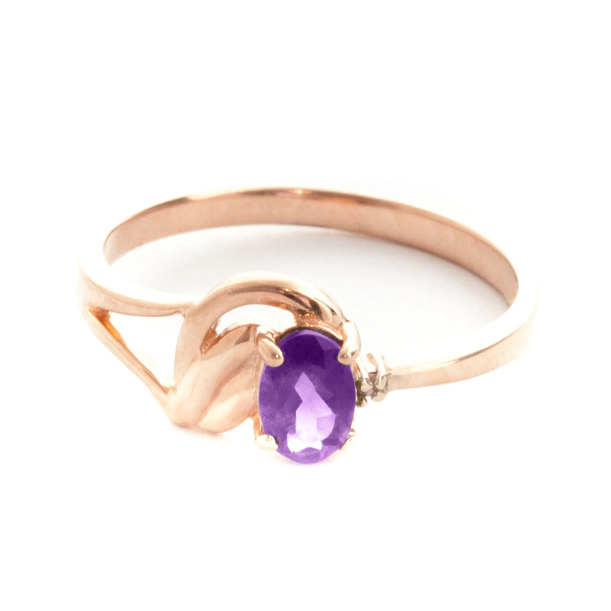 Amethyst & Diamond Angel Ring in 18ct Rose Gold