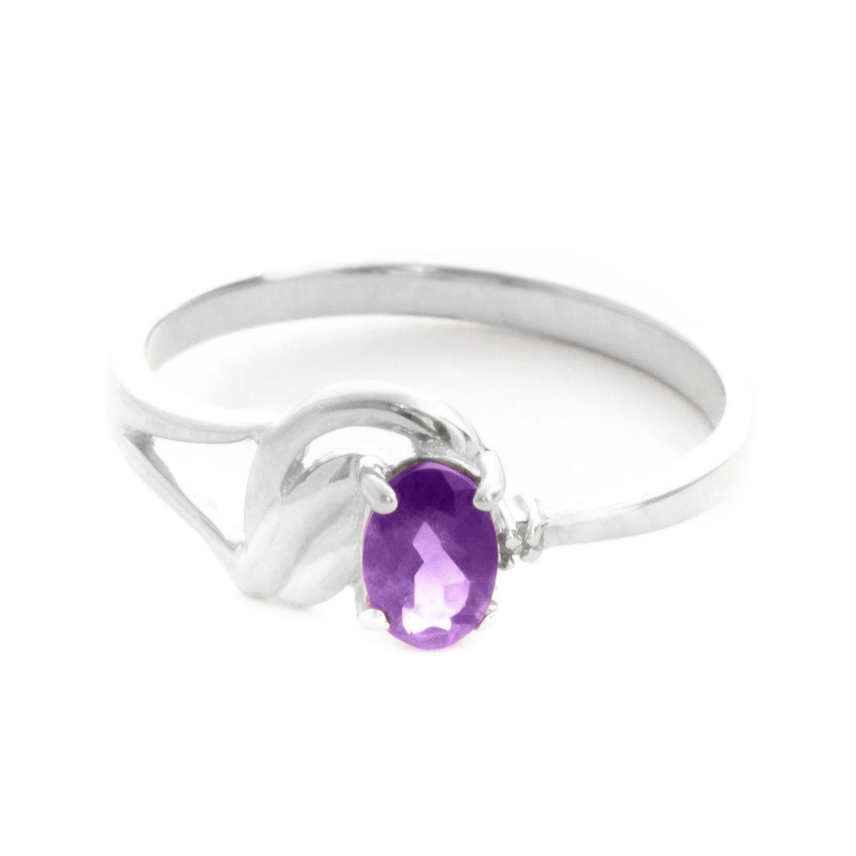 Amethyst & Diamond Angel Ring in 18ct White Gold