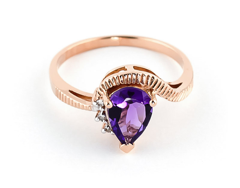Amethyst & Diamond Belle Ring in 9ct Rose Gold