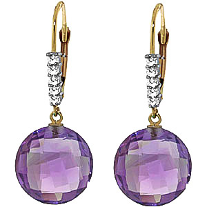 Amethyst & Diamond Chequer Drop Earrings in 9ct Gold