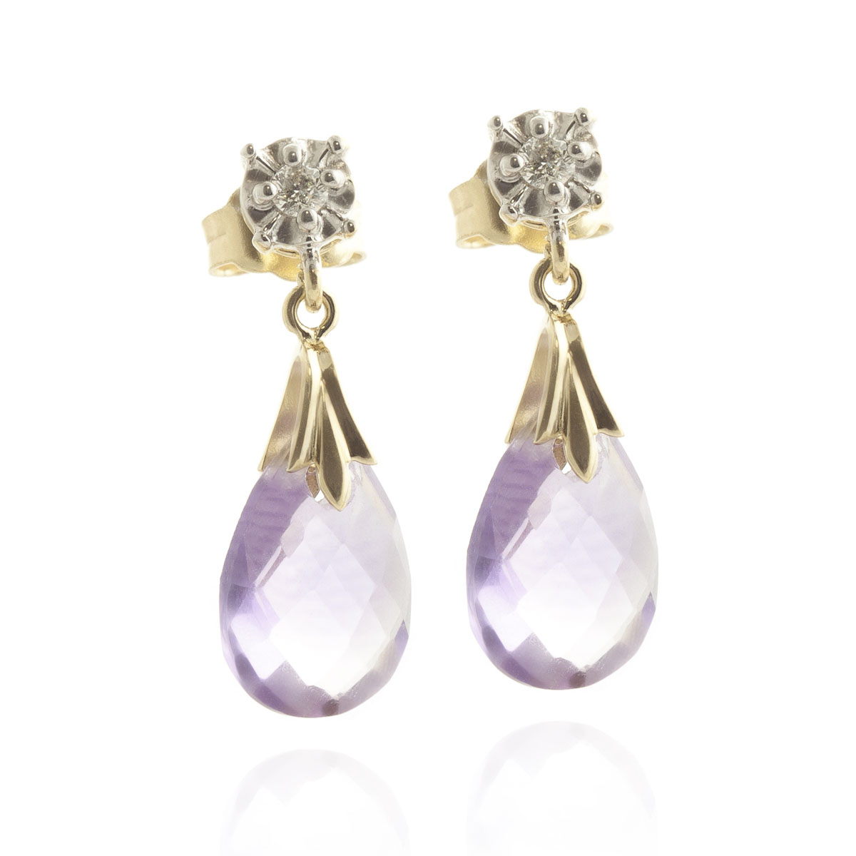 Amethyst & Diamond Comet Stud Earrings in 9ct Gold