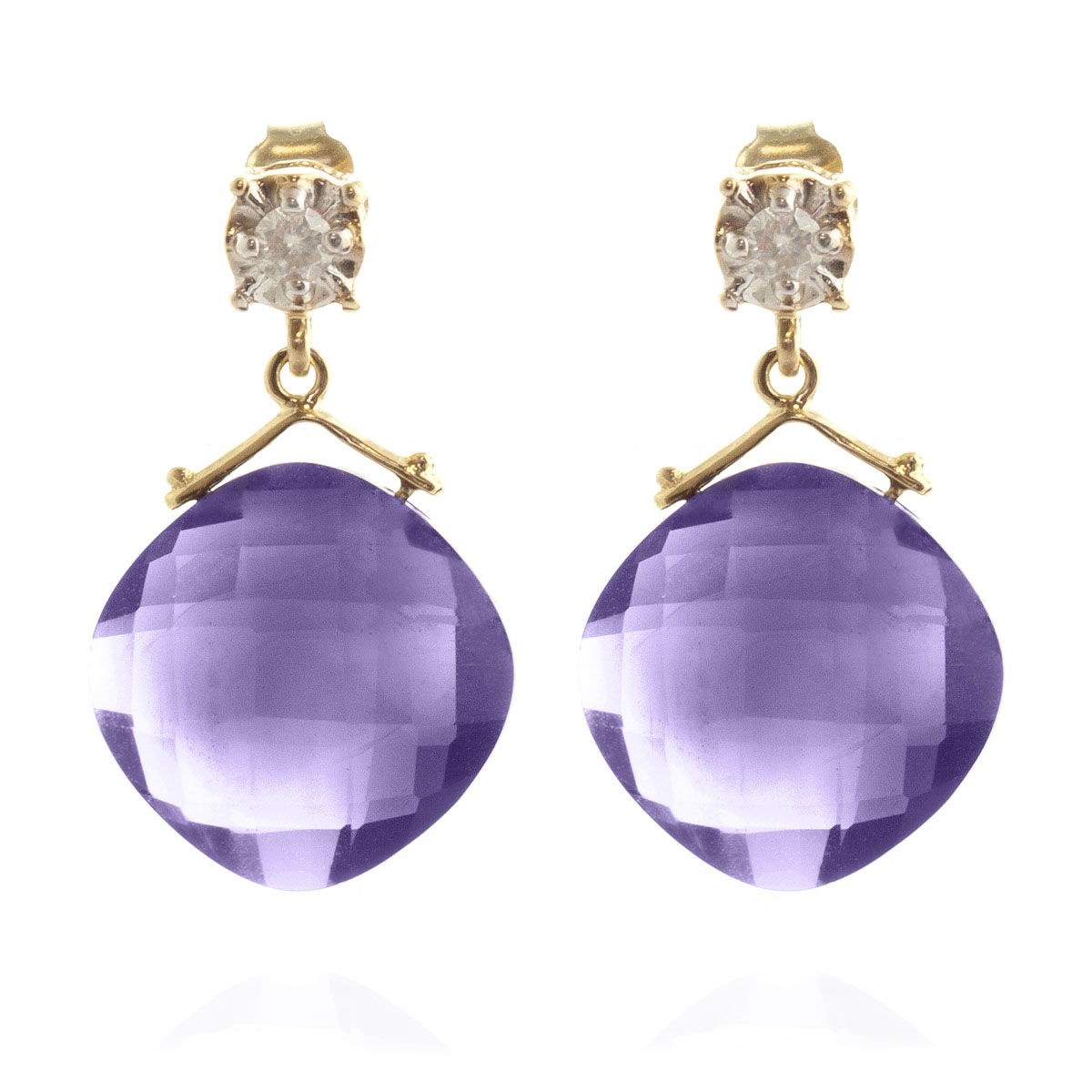 Amethyst & Diamond Deflection Stud Earrings in 9ct Gold