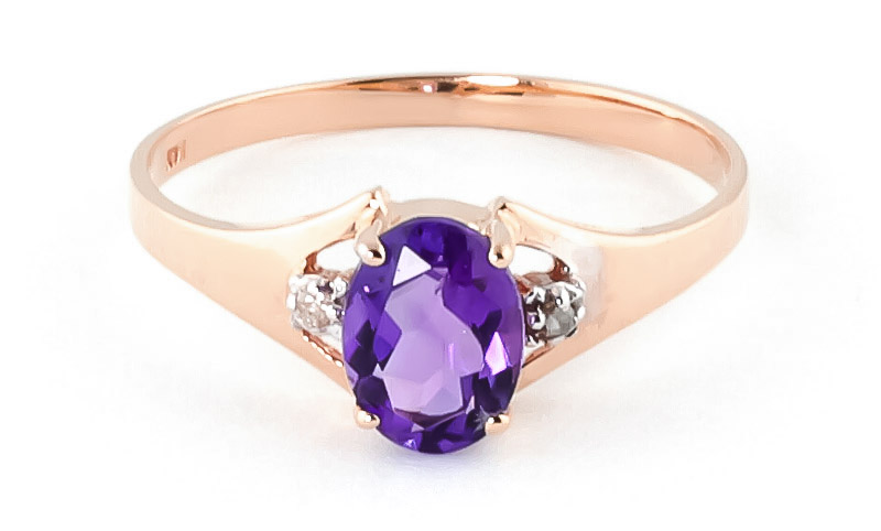 Amethyst & Diamond Desire Ring in 9ct Rose Gold