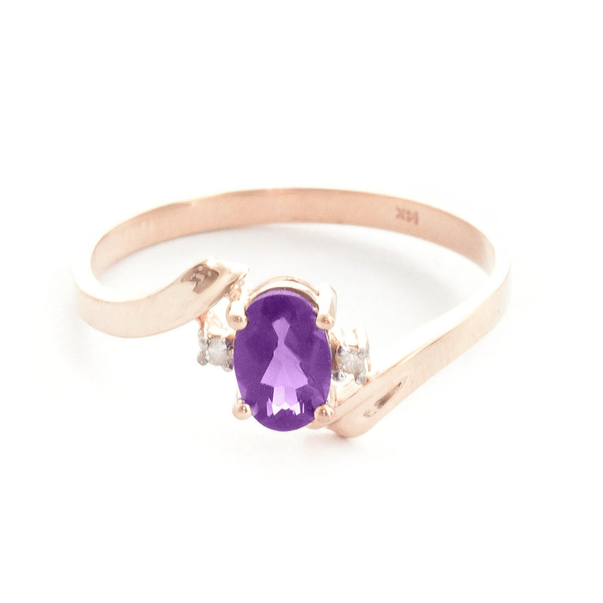 Amethyst & Diamond Embrace Ring in 9ct Rose Gold