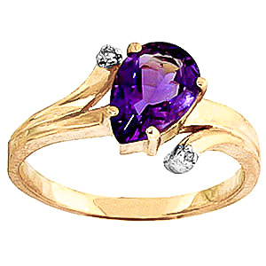 Amethyst & Diamond Flank Ring in 18ct Gold