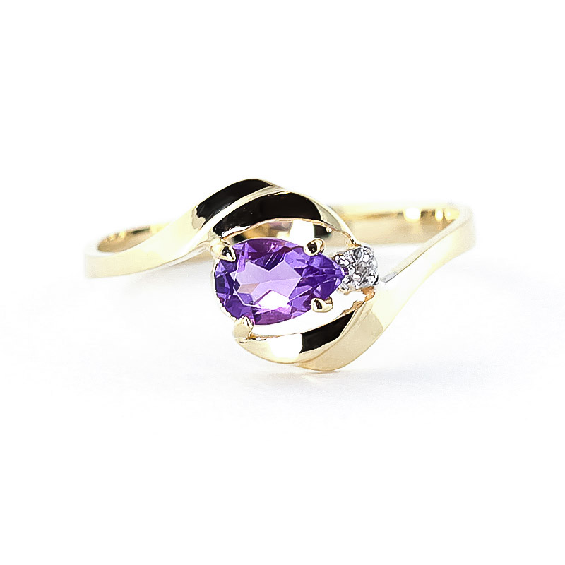 Amethyst & Diamond Flare Ring in 9ct Gold