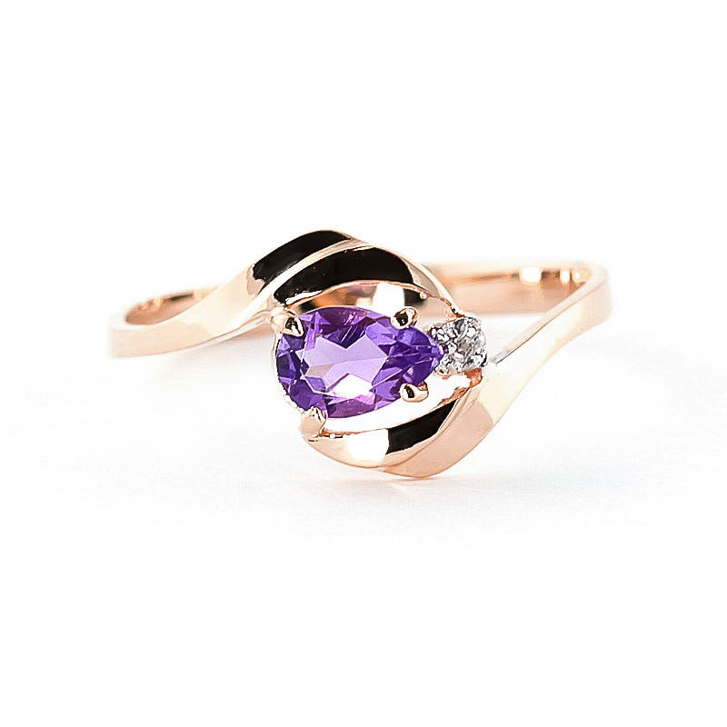 Amethyst & Diamond Flare Ring in 9ct Rose Gold