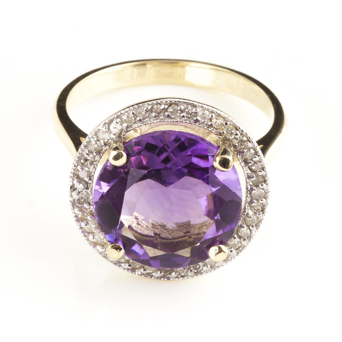 Amethyst & Diamond Halo Ring in 9ct Gold