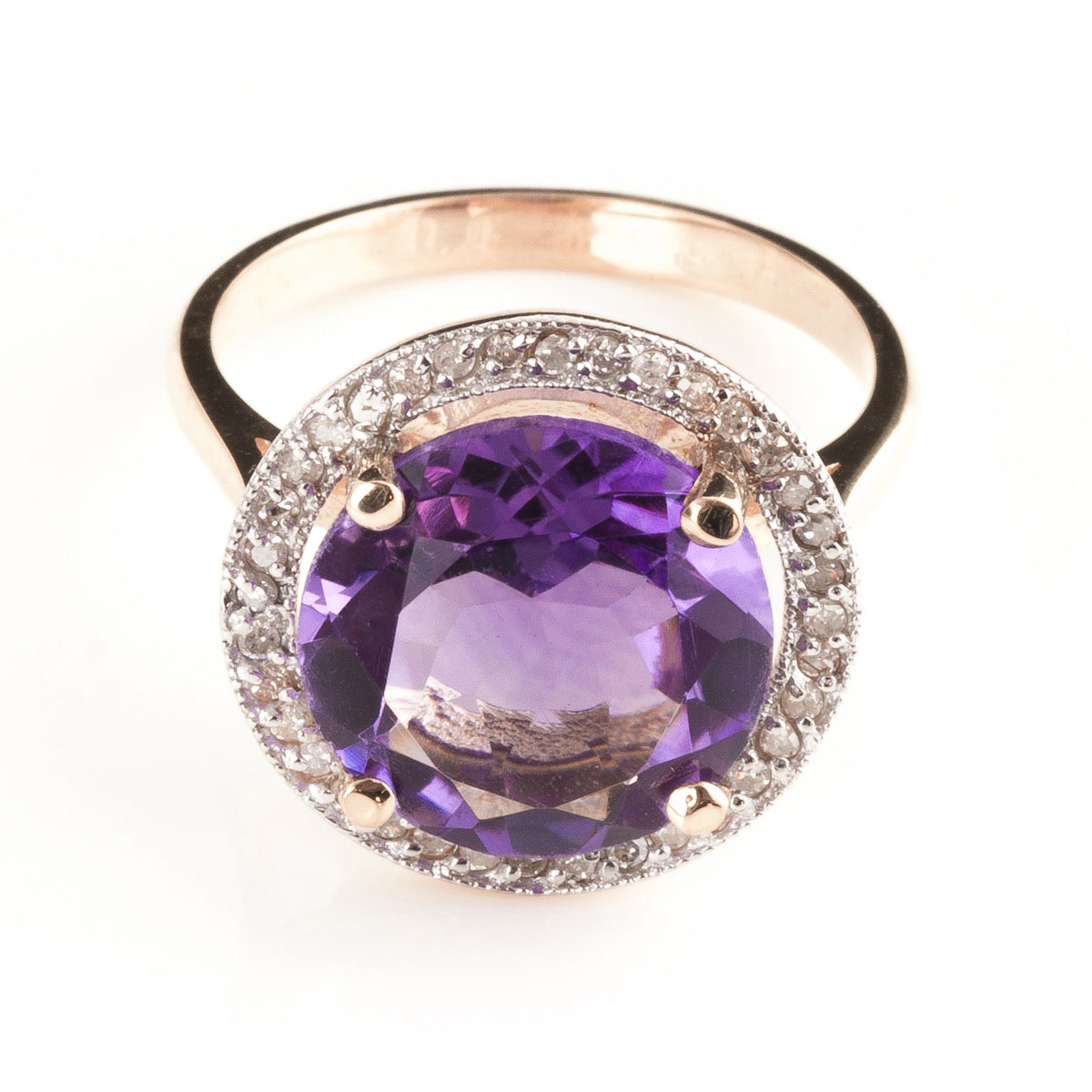Amethyst & Diamond Halo Ring in 18ct Rose Gold