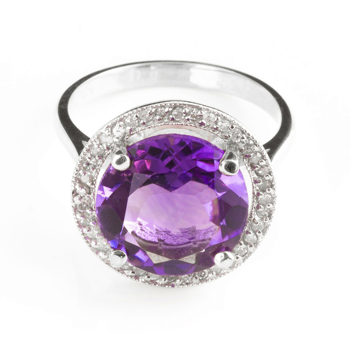 Amethyst & Diamond Halo Ring in 18ct White Gold