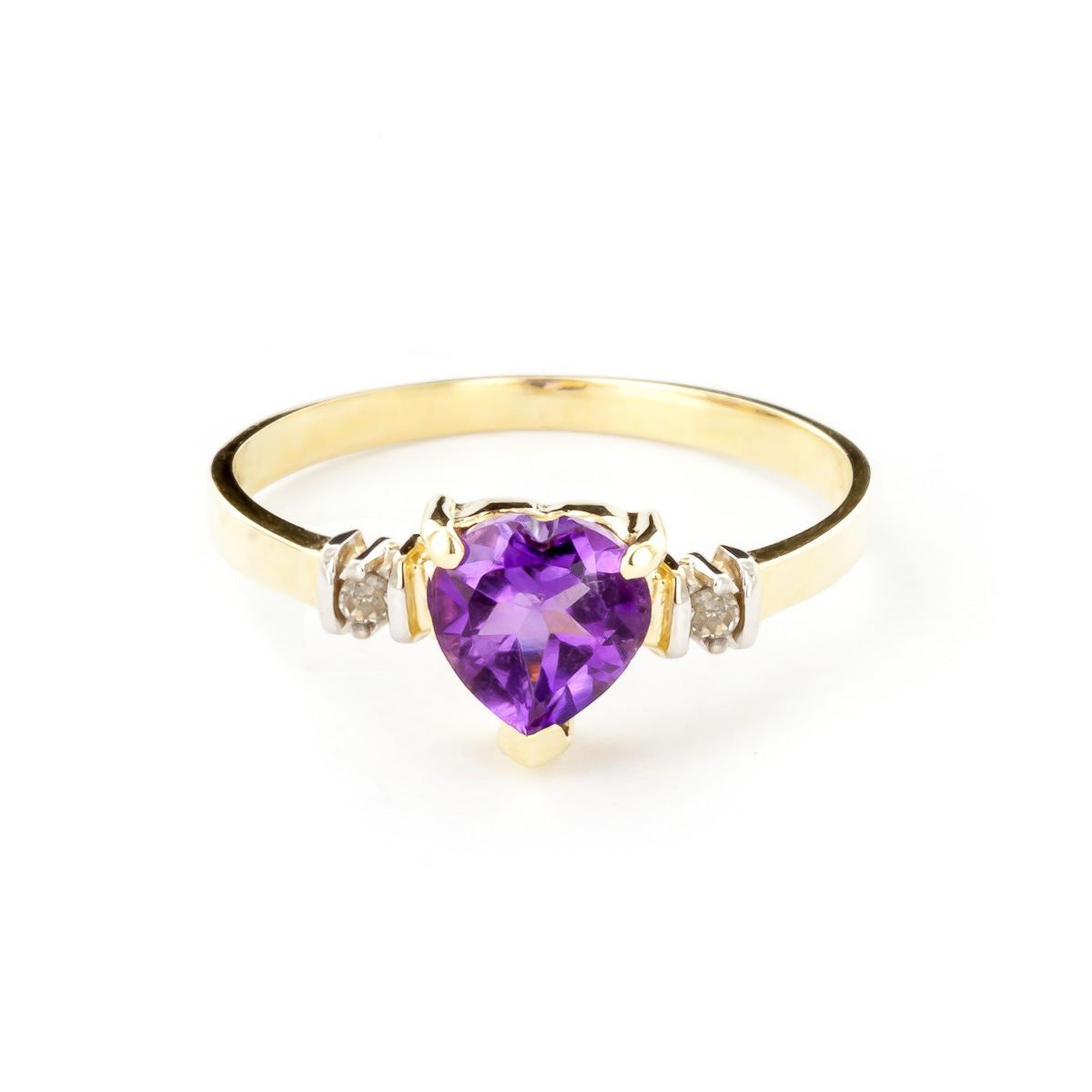 Amethyst & Diamond Heart Ring in 9ct Gold