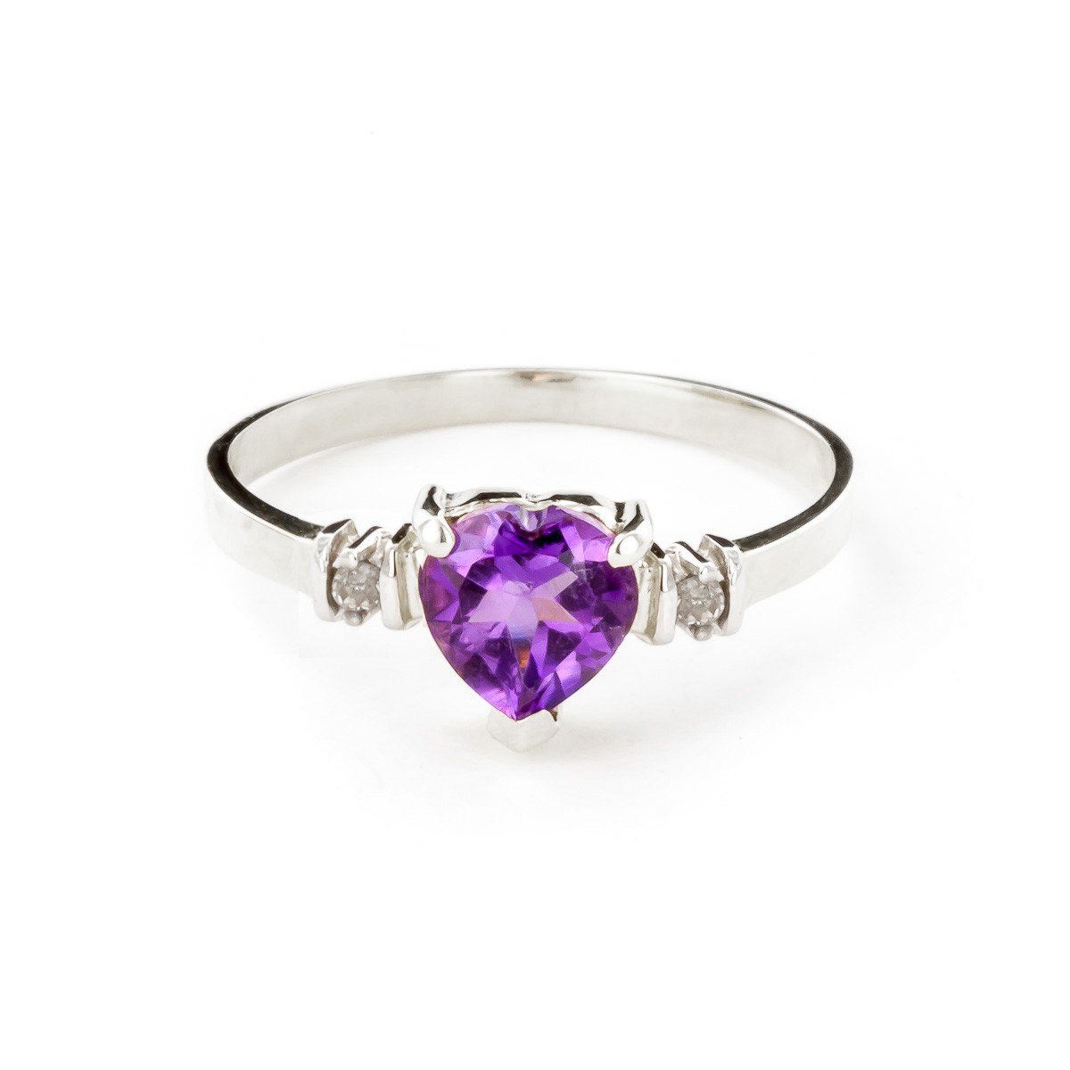 Amethyst & Diamond Heart Ring in 9ct White Gold
