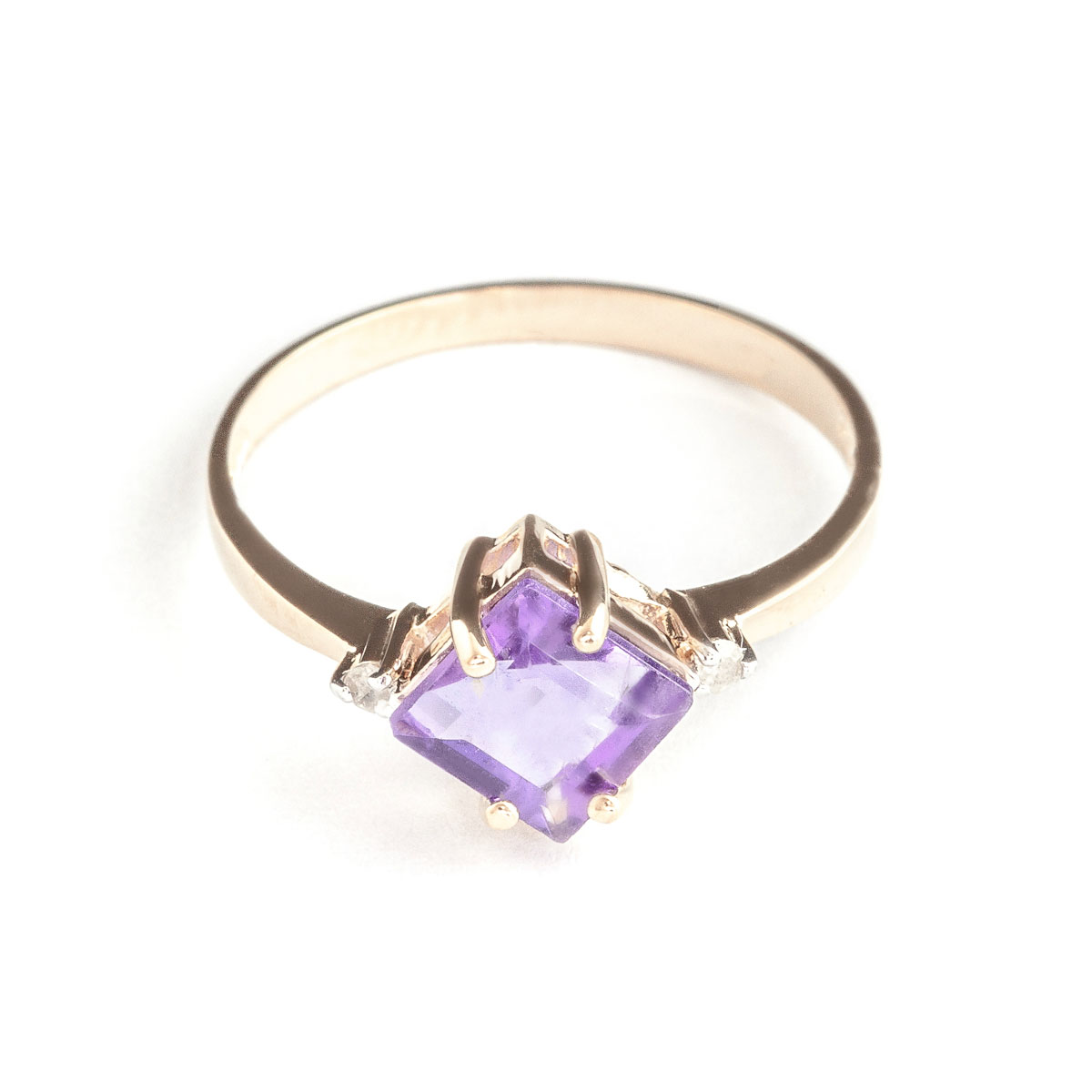 Amethyst & Diamond Princess Ring in 18ct Rose Gold