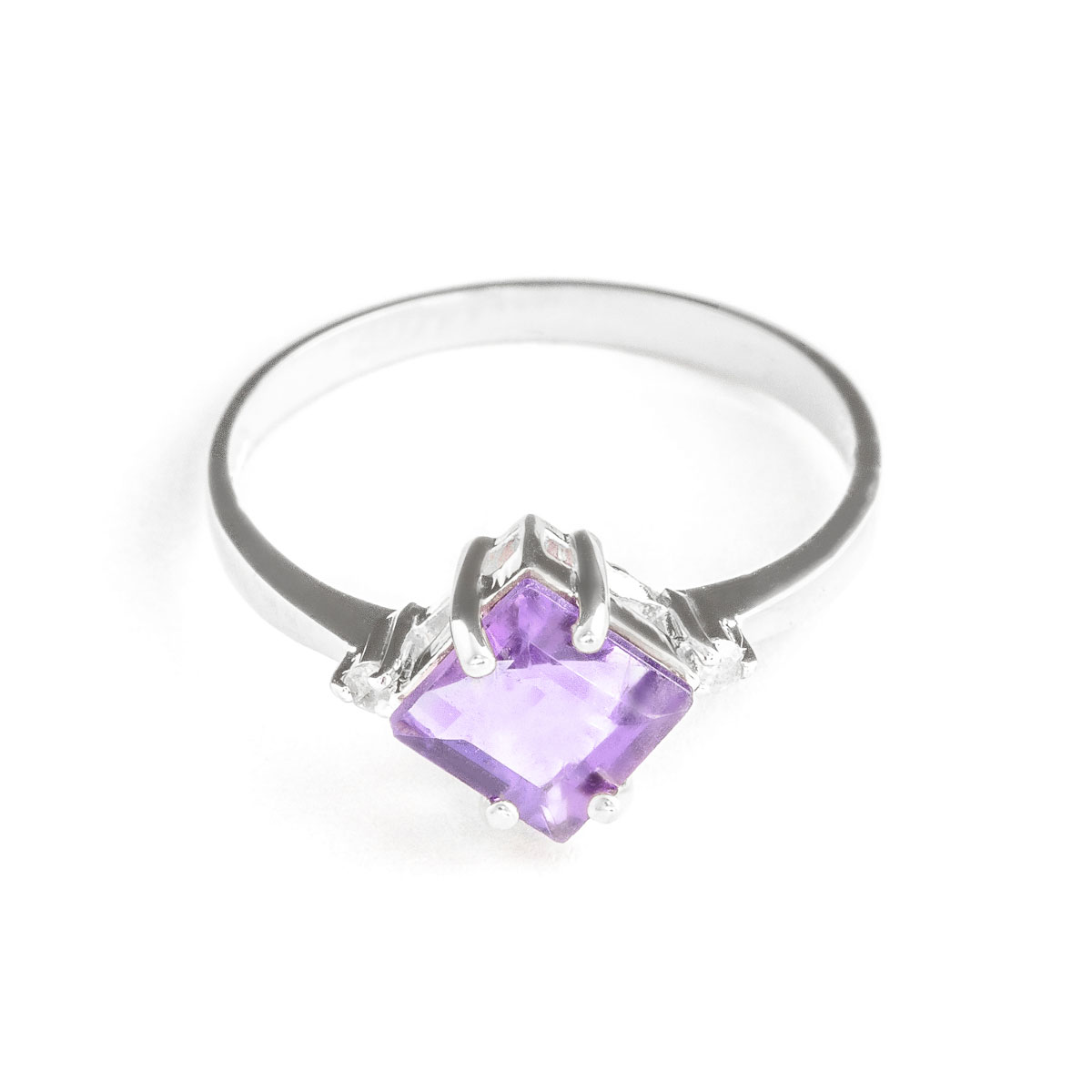 Amethyst & Diamond Princess Ring in 9ct White Gold