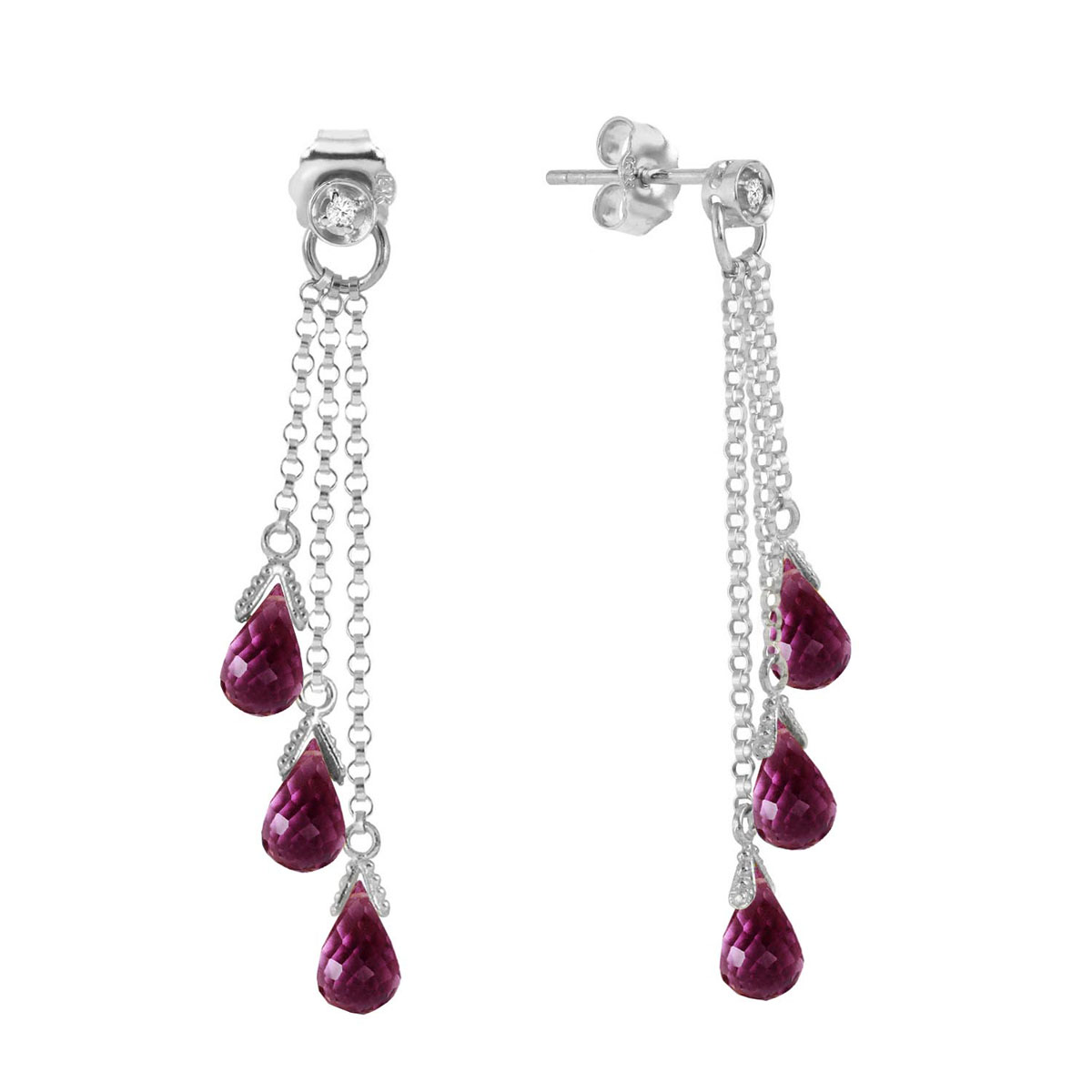 Amethyst & Diamond Trilogy Droplet Earrings in 9ct White Gold