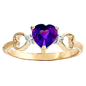 Amethyst & Diamond Trinity Ring in 9ct Gold