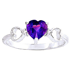 Amethyst & Diamond Trinity Ring in 9ct White Gold