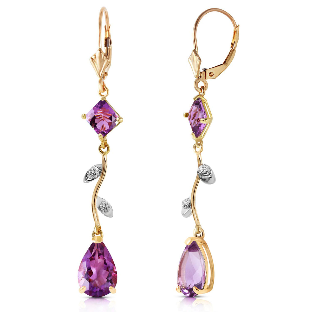 Amethyst & Diamond Vine Branch Drop Earrings in 9ct Gold