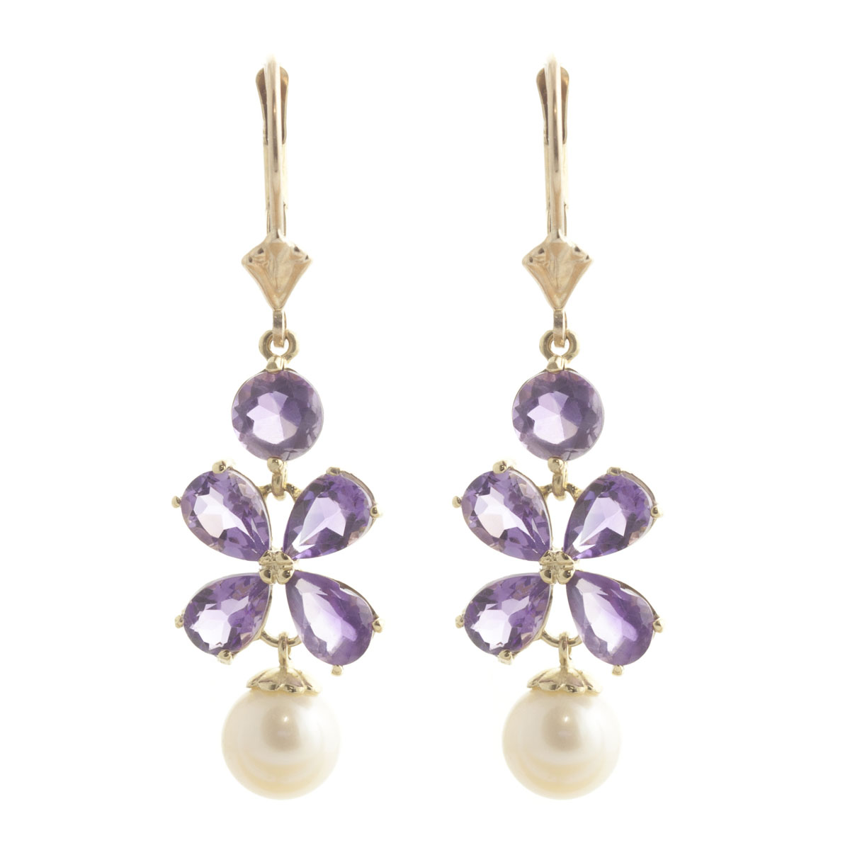 Amethyst & Pearl Blossom Drop Earrings in 9ct Gold