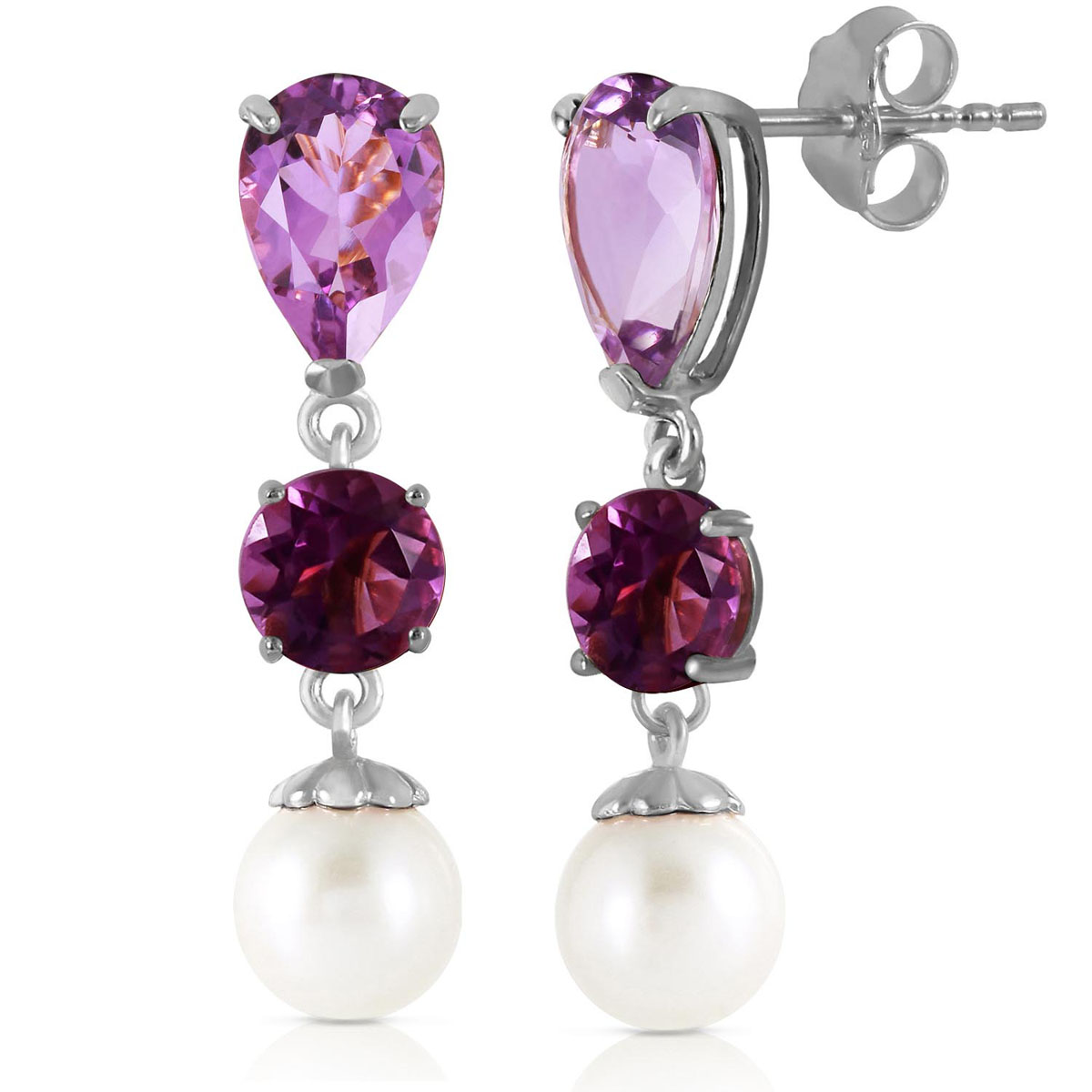 Amethyst & Pearl Droplet Earrings in 9ct White Gold